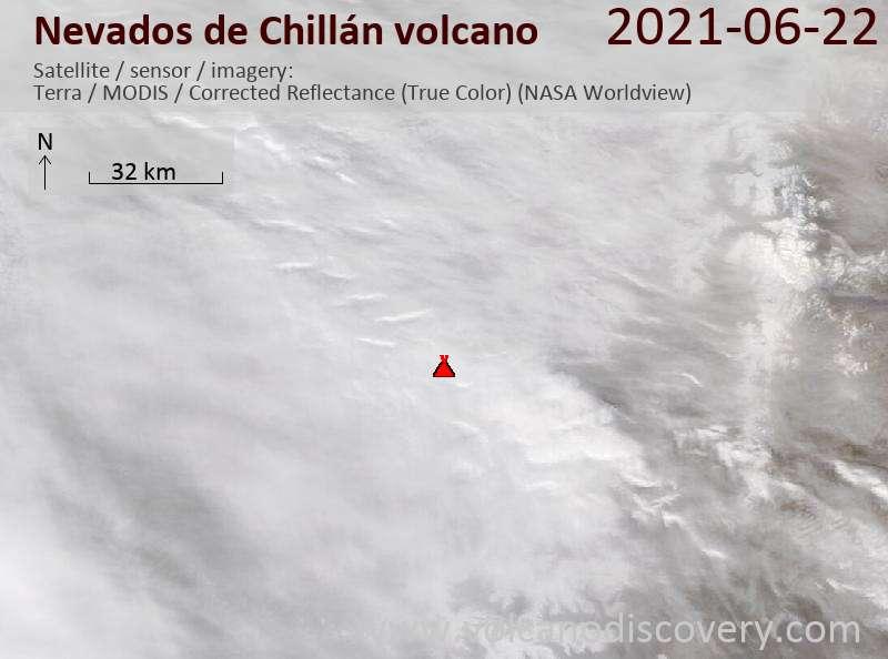 Satellitenbild des Nevados de Chillán Vulkans am 23 Jun 2021