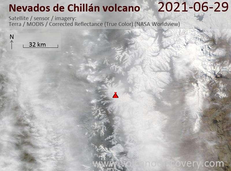 Satellite image of Nevados de Chillán volcano on 30 Jun 2021