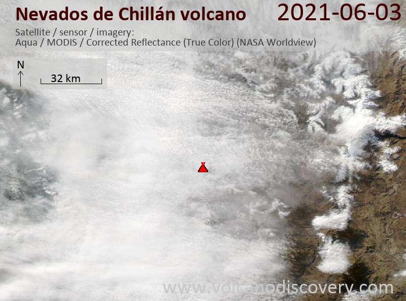 Satellite image of Nevados de Chillán volcano on  4 Jun 2021