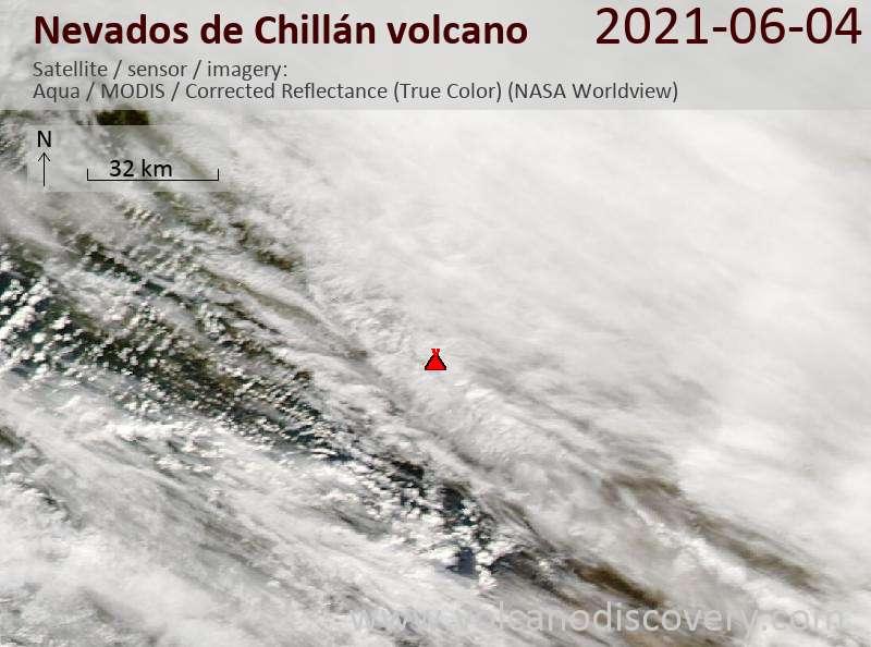 Satellite image of Nevados de Chillán volcano on  5 Jun 2021