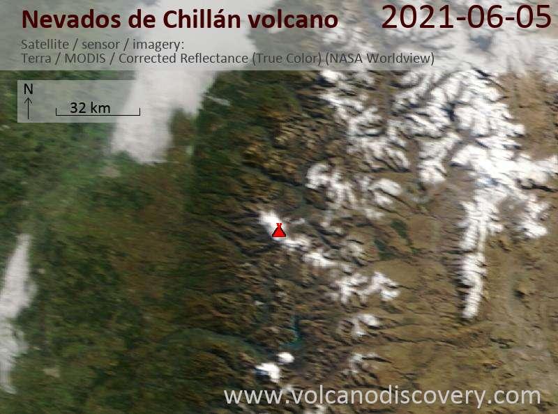Satellite image of Nevados de Chillán volcano on  7 Jun 2021