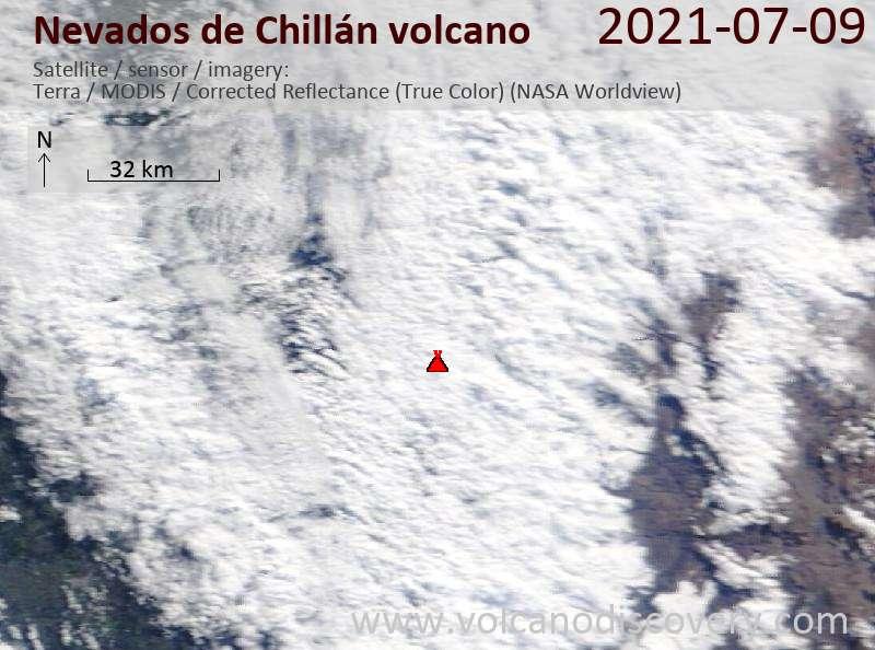 Satellite image of Nevados de Chillán volcano on 10 Jul 2021
