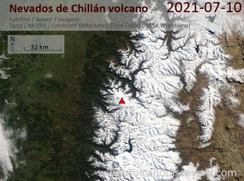 Satellite image of Nevados de Chillán volcano on 12 Jul 2021