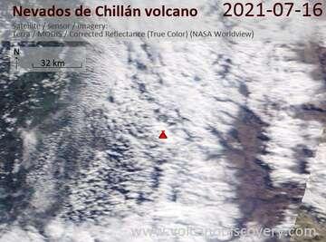 Satellite image of Nevados de Chillán volcano on 17 Jul 2021