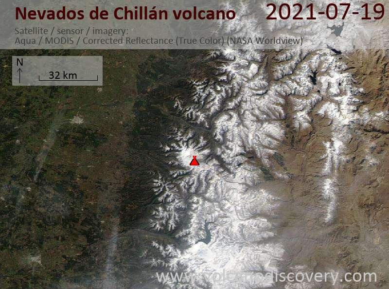 Satellite image of Nevados de Chillán volcano on 19 Jul 2021