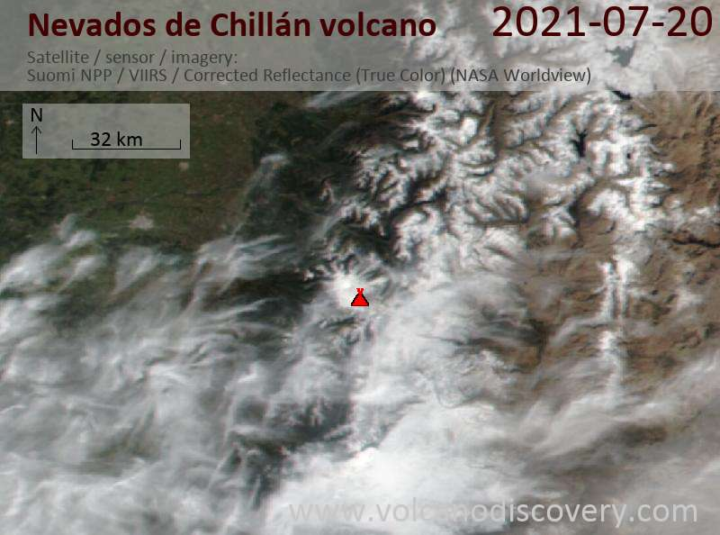 Satellite image of Nevados de Chillán volcano on 21 Jul 2021