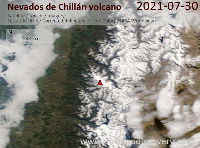 Satellite image of Nevados de Chillán volcano on 31 Jul 2021
