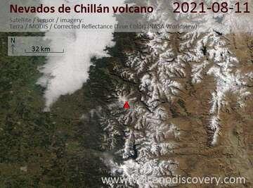 Imagen satelital del volcán Nevados de Chillán el 11 de agosto de 2021