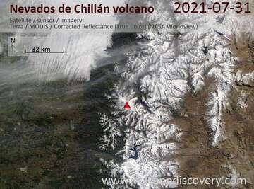Satellite image of Nevados de Chillán volcano on  1 Aug 2021