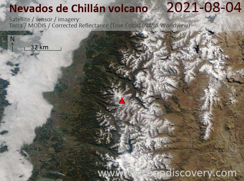 Satellite image of Nevados de Chillán volcano on  5 Aug 2021