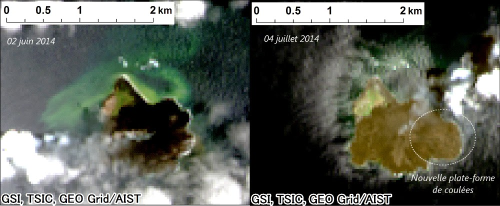 Landsat 8 images of Nishino-Shima on 2 June and 4 July, showing the new platform to the east (images: AIST, annotation: Culture Volcan)