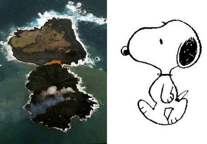 The two islands of Nishino-Jima (t) and Niijima (b) have merged.