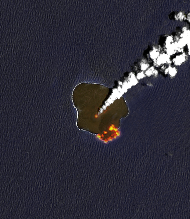 Landsat 8 infrared image of Nishinoshima on 21 June 2015 showing the active areas (vent and lava delta)