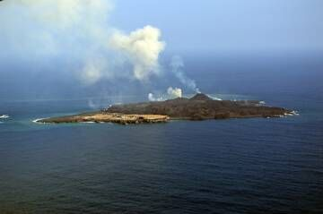 View of Nishinoshima from the NW, showing the two cones around the vents