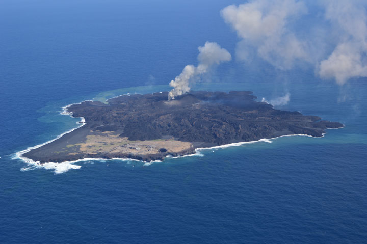 Aerial view of Nishinoshima on  24 March 2014 (Japan Coast Guard)