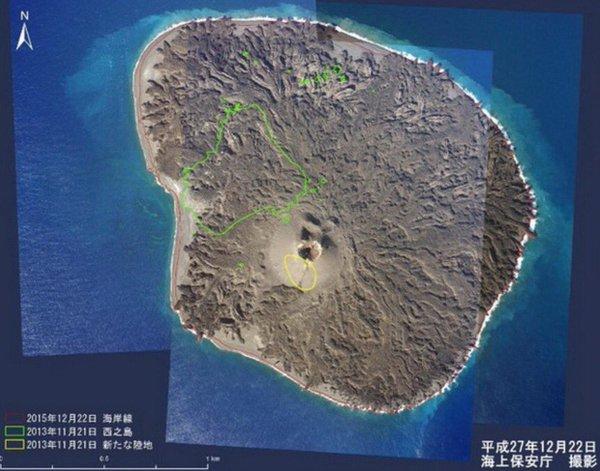 Nishinoshima island as of 27 Dec 2015 (Japan coast guard)