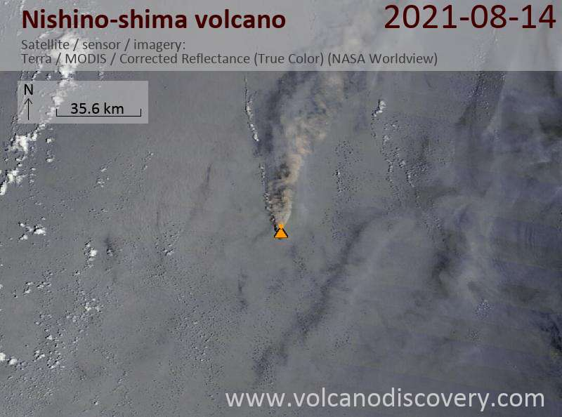 Eruption plume from Nishinoshima volcano drifted northwards (image: volcanodiscovery.com)