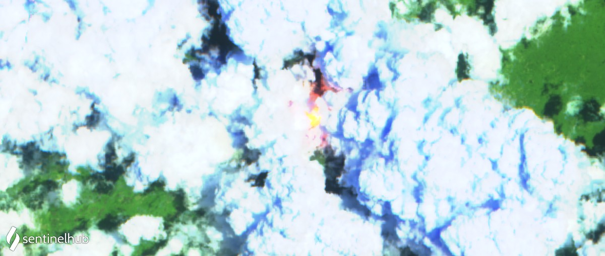 Partially visible glowing lava lake in the summit crater from satellite today (image: Sentinel 2)