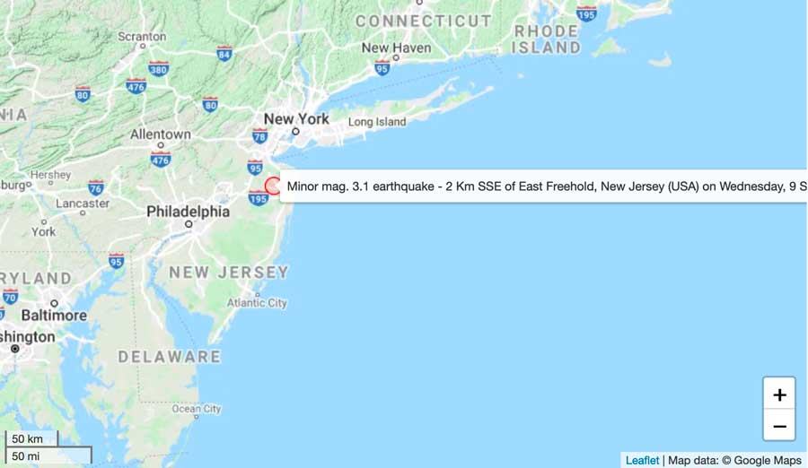 Location of this morning's quake near New York