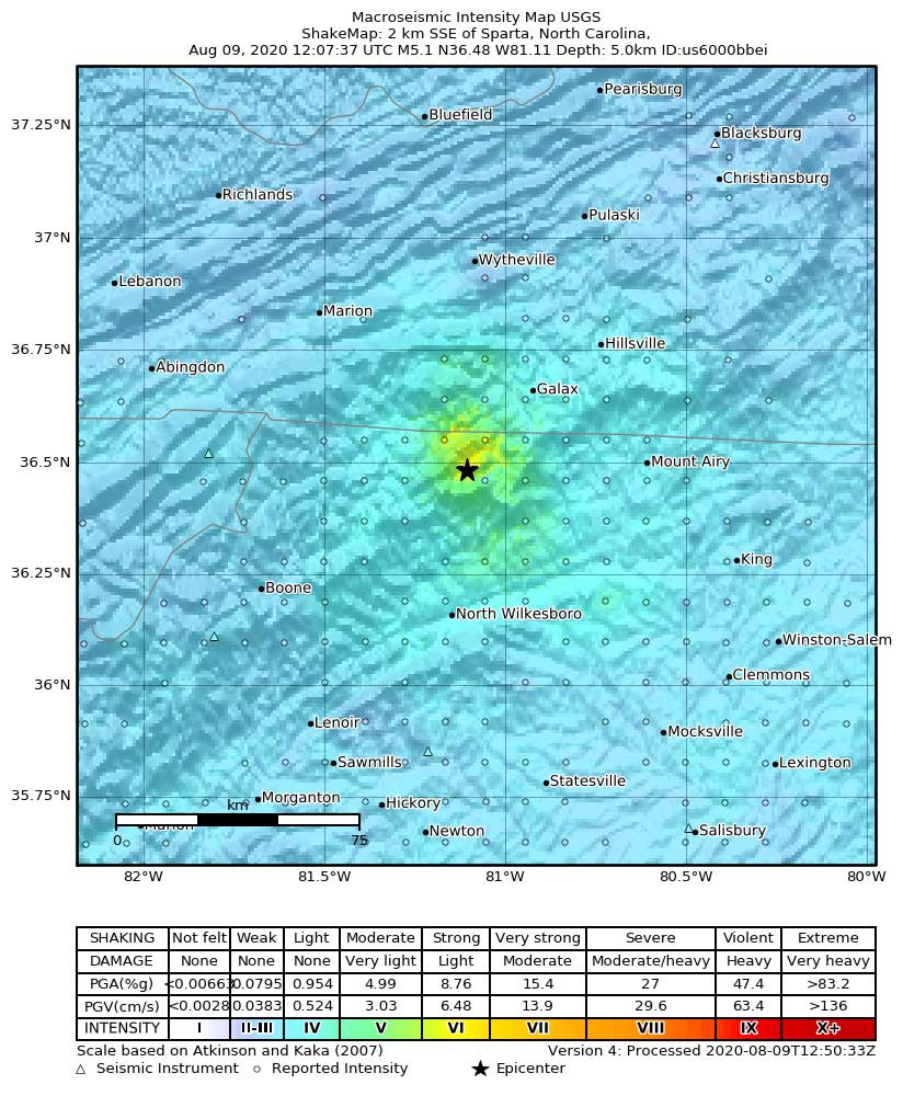 USGS shakemap (calculated intensity)