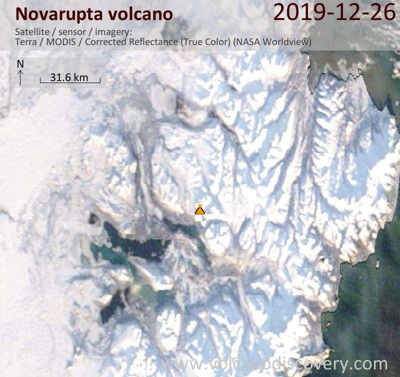 Satellitenbild des Novarupta Vulkans am 26 Dec 2019
