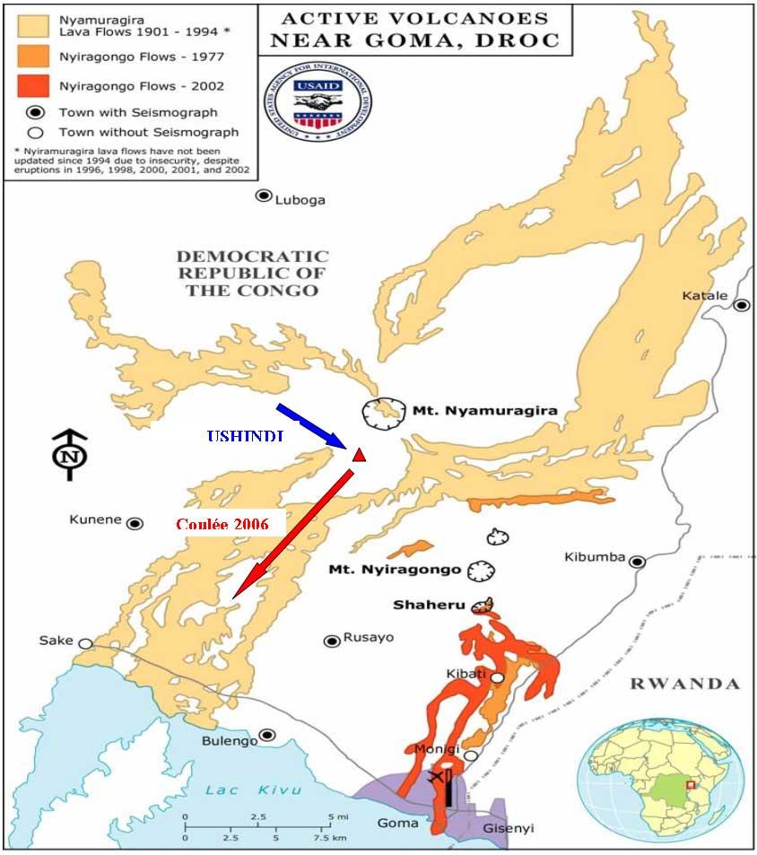 Map of Nyamuragira volcano and the new eruption site (courtesy of GVO)