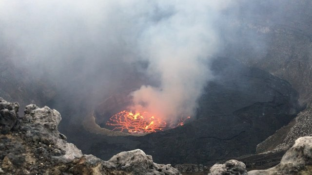 View of the crater of Nyiragongo on around 1 April 2016 (image: Clint Johnston / instagram)
