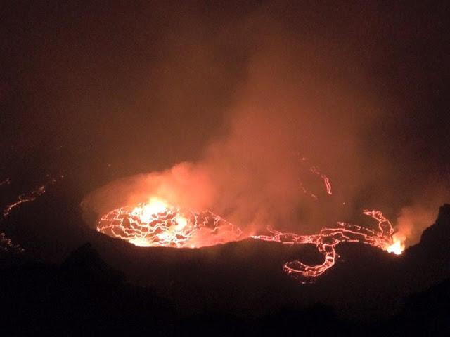 Nyiragongo's intra-crater lava flows last week, cascading into the main lava lake (image: João Cunha Monteiro /facebook)