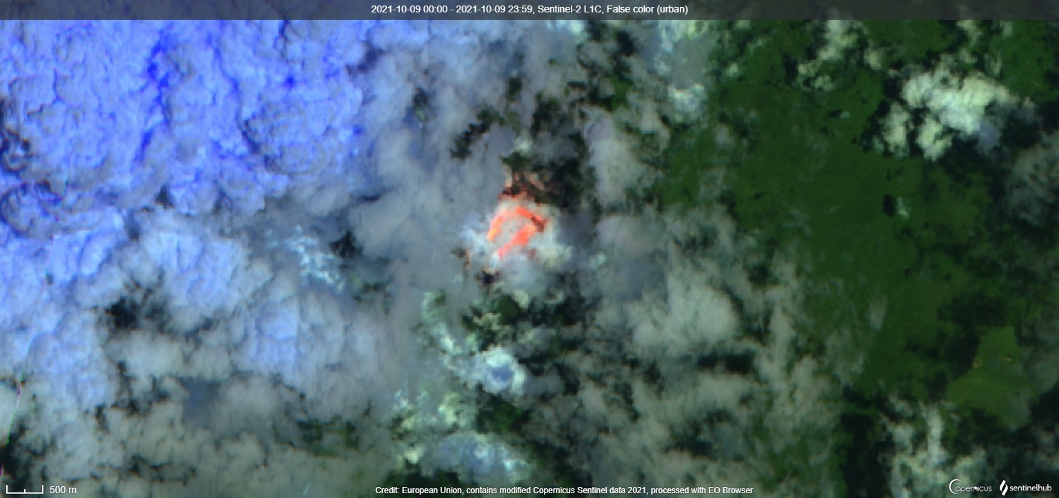 Satellite image from 9 October confirms high activity in the inner summit crater (image: Sentinel 2)