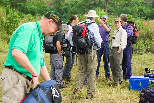 Our group ready for the climb to Nyiragongo...