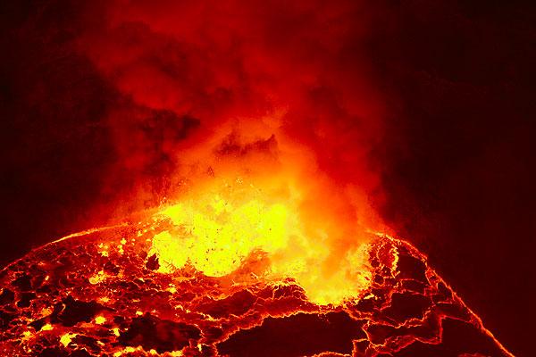 Lava fountain from the lava lake of Nyiragongo volcano