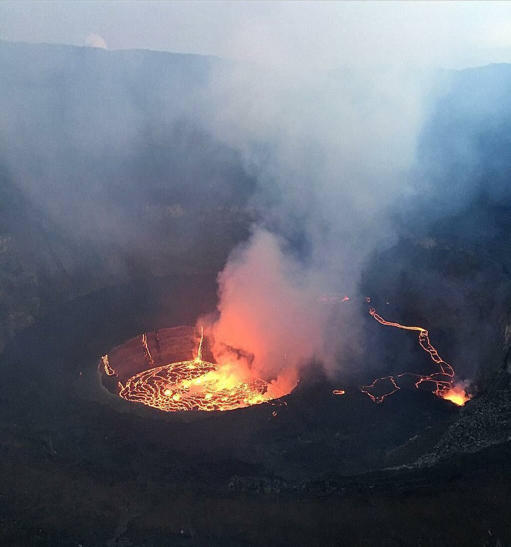 Lava cascading into the central lava lake of Nyiragongo volcano (image: Jason Sehorn)