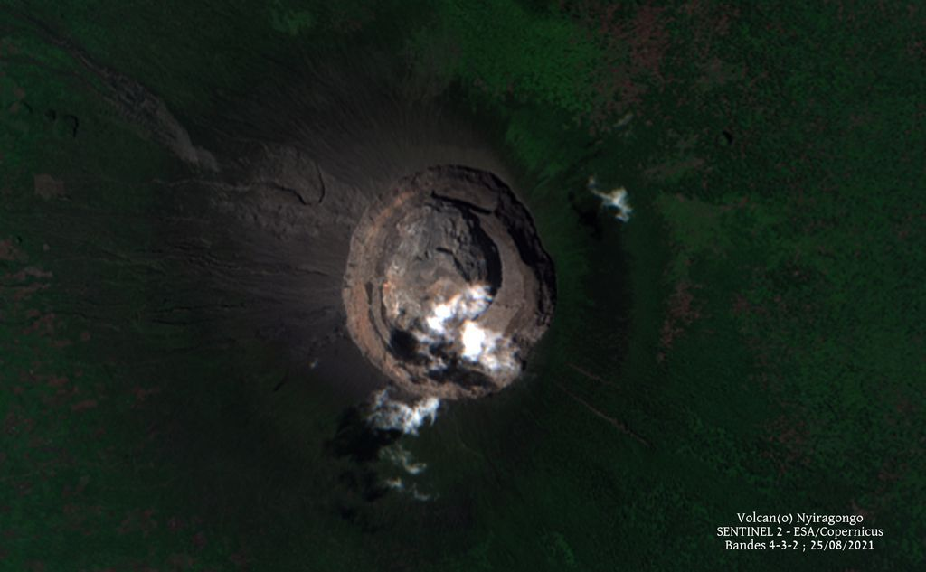 Satellite image from 25 August confirmed the inactive lava lake at Nyiragongo volcano (image: Sentinel 2)