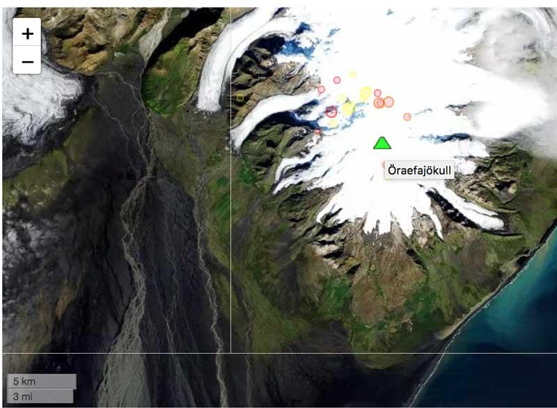 Earthquakes under Öræfajökull during the past 7 days