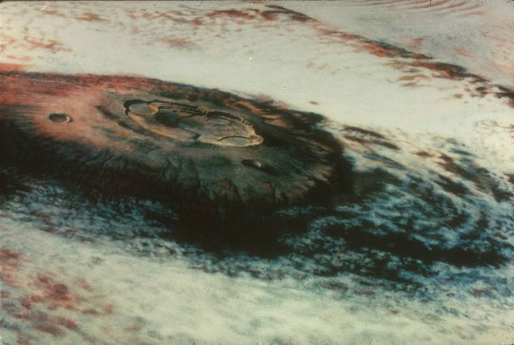 First photo of Mt. Olympus by the Mariner 9 spacecraft in 1971