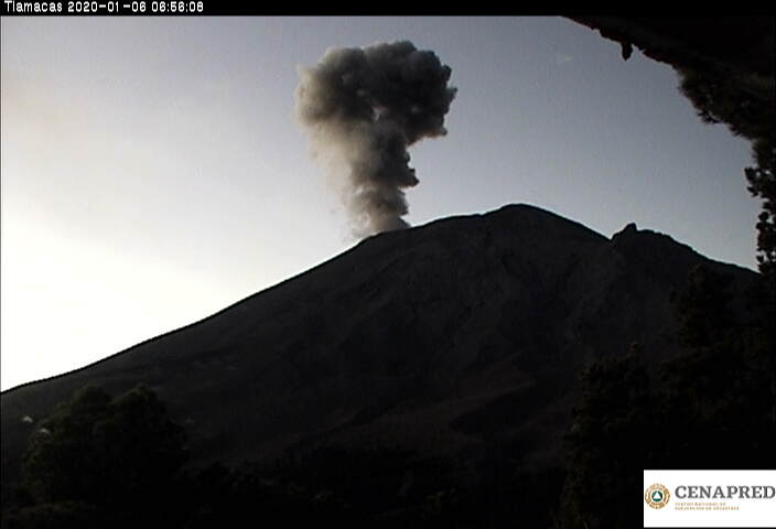 Emissions of water vapor, gases and light ash content from Popocatépetl volcano drifted NE (image: CENAPRED)