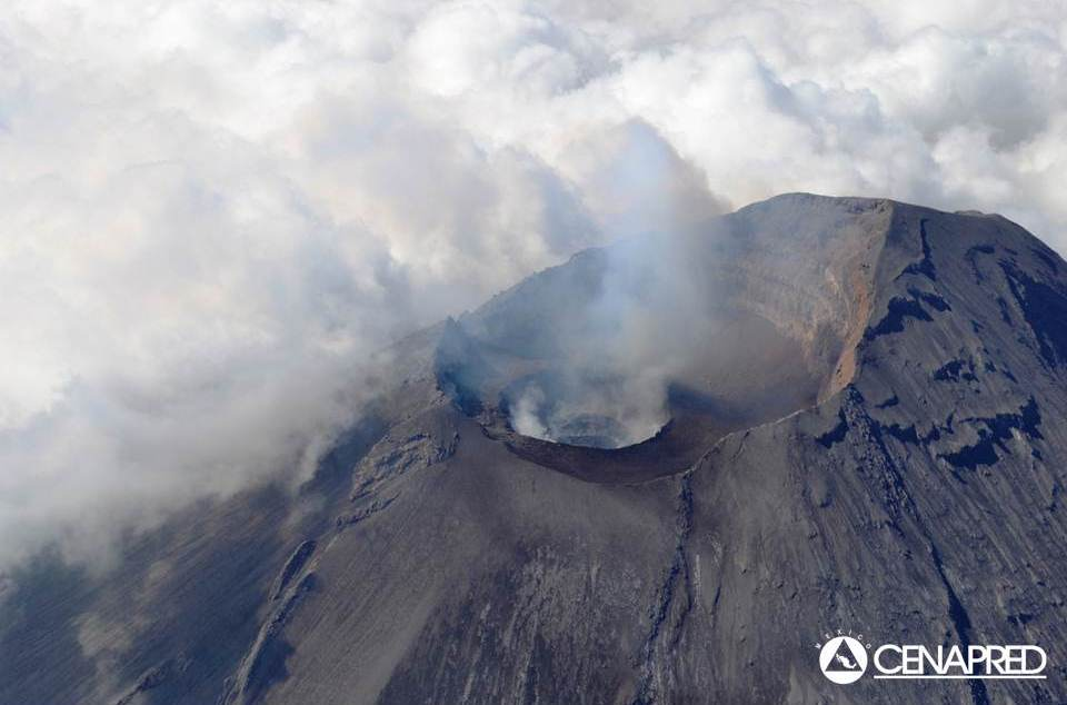 Aerial view of Popocatépetl's summit crater (image: CENAPRED)