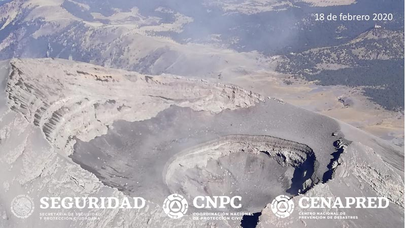 The summit crater seen on 18 Feb 2020 (image: CENAPRED)