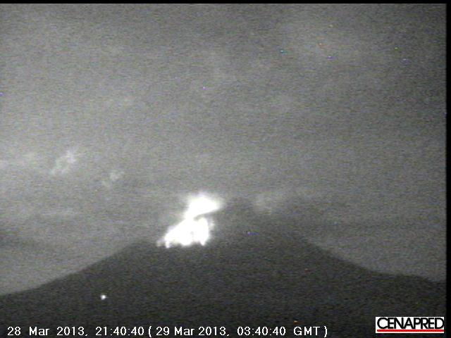 Explosion yesterday night from Popocatépetl