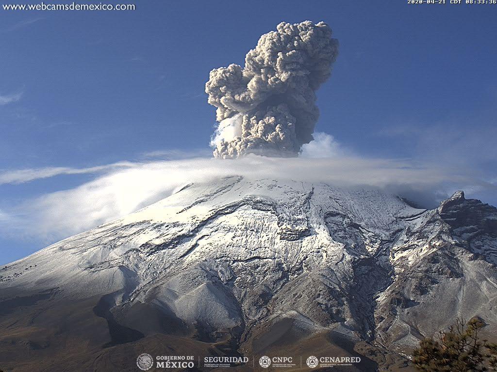 Vigorous eruption from Popocatépetl volcano yesterday (image: CENAPRED)