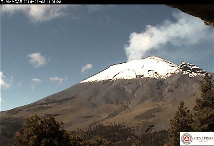 Steam and light ash emissions from Popocatépetl yesterday