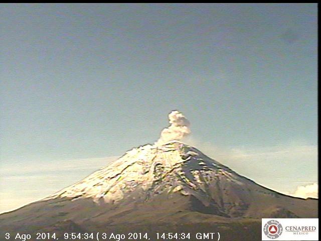 Small ash puff at Popocatépetl yesterday (CENAPRED)