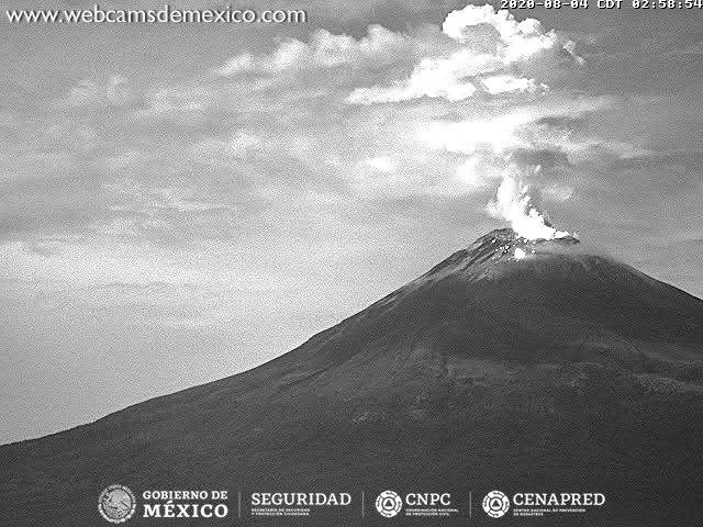 Explosion from Popocatépetl volcano yesterday (image: CENAPRED)