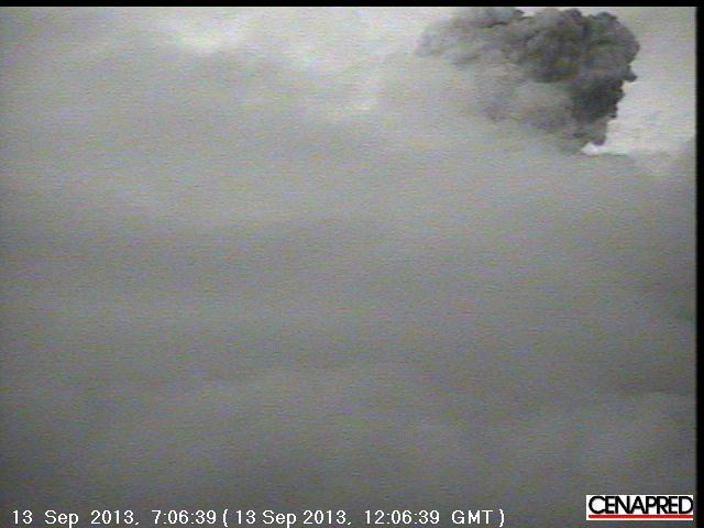 Eruption from Popocatépetl yesterday (CENAPRED)
