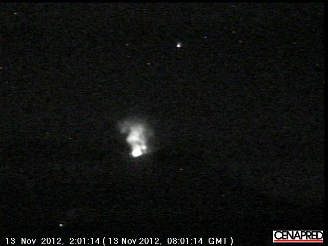 Glow from the crater during a small explosion this morning