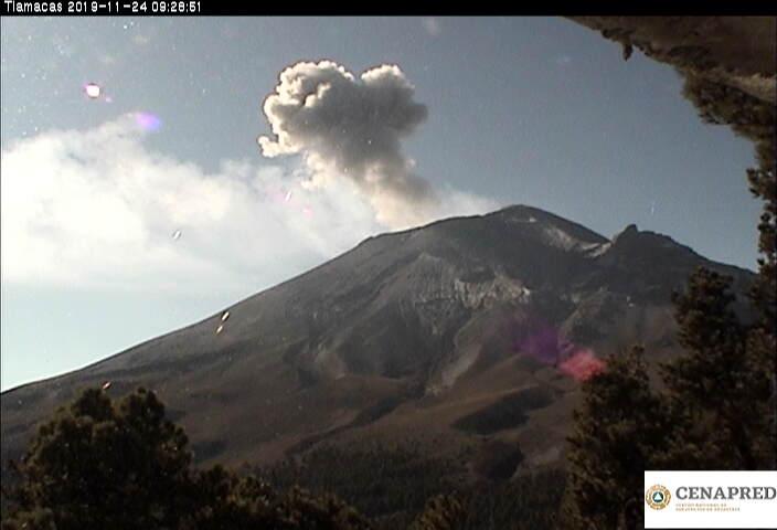 Explosion from Popocatépetl volcano on 24 November 2019 (image: CENAPRED)