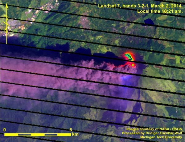 Landsat beeld van de ash plume en lava stroom van Pacaya de uitbarsting gisteren (Bron: @rudigerescobar / Twitter)