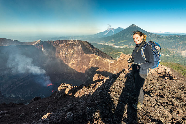 Happy Ingrid on the rim of Mackenney crater of Pacaya, where a new cinder cone is growing.