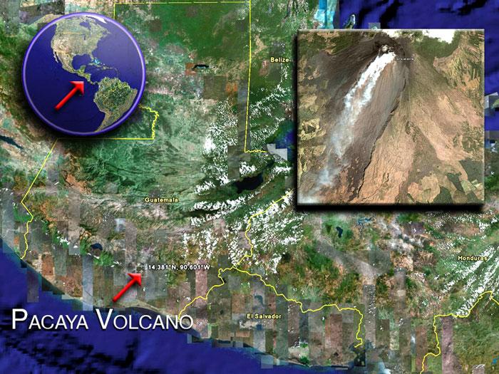 Pacaya volcano satellite image by (c) Google Earth View