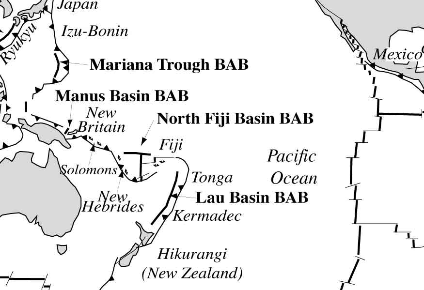 Backarc basins and plate boundaries in the Pacific Ocean and location of Fiji (BAB)